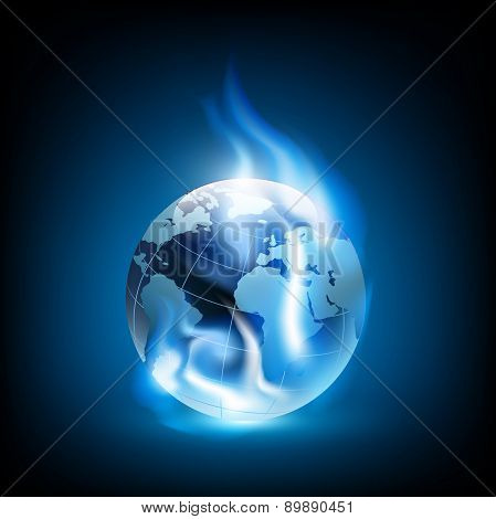 Planet Earth And Blue Flames