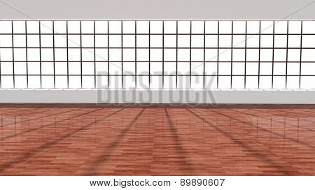 Interior of an empty office/apartment with blank window