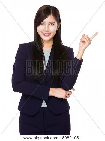 Asian businesswoman with finger pointing up