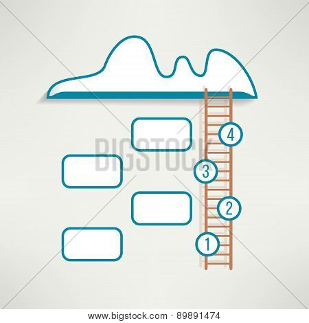 Cloud with ladder simple clean infographics design. Business four steps background. Vector illustrat