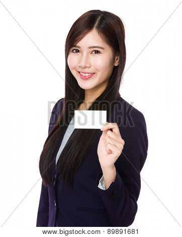 Businesswoman show with blank name card