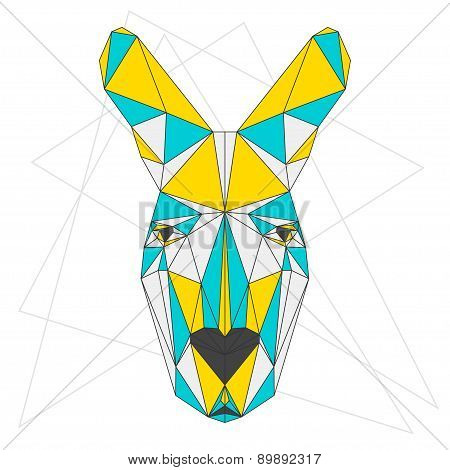 Abstract Blended Colored Polygonal Triangle Geometric Kangaroo Isolated On White