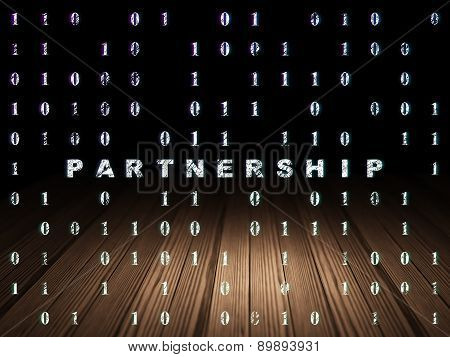 Business concept: Partnership in grunge dark room