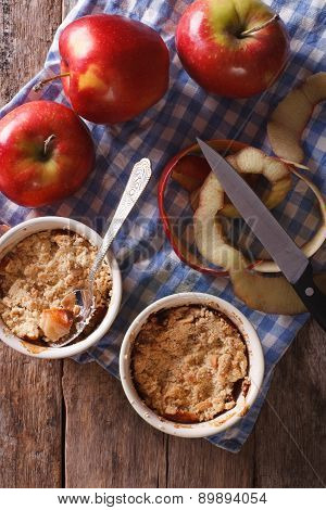Apple Crumble In Pots Vertical Top View Of Rustic Style