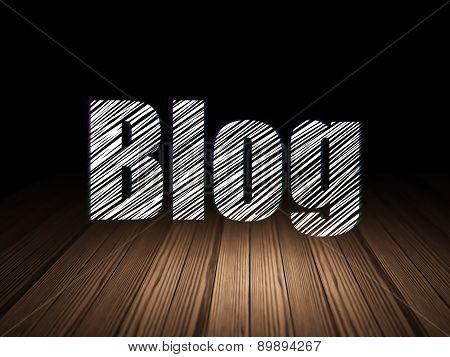 Web design concept: Blog in grunge dark room