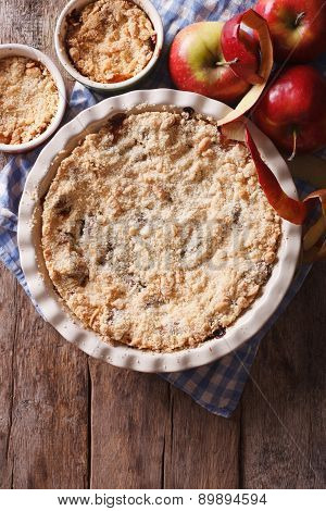 Apple Crisp Close-up In Baking Dish, Vertical Top View