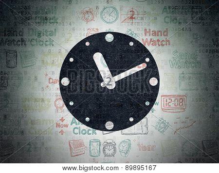 Time concept: Clock on Digital Paper background