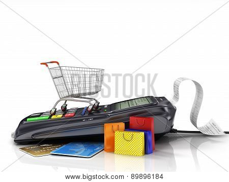 Payment Terminal With Credit Card, Shopping Cart And Shopping Bag On White Background, Credit Card R