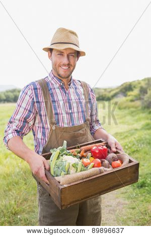 Happy farmer carrying box of veg on a sunny day