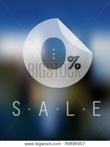 Sale Discount Zero Percent Button On Blurred Background