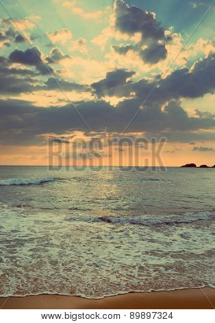 beautiful landscape with tropical sea sunset on the beach - vintage retro style