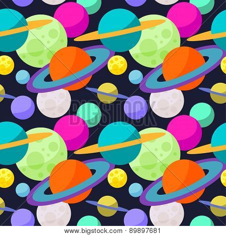 Bright Cartoon Cosmic Seamless Pattern With Funny Planets In Space