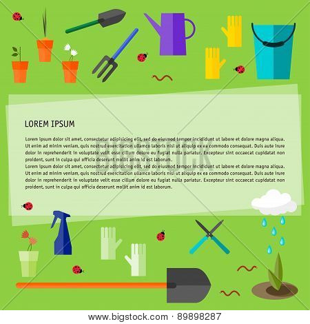 Conceptual Illustration With Garden Tools Isolated On Fresh Green Background