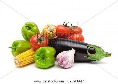 Still Life Of Fresh Vegetables Isolated On White Background