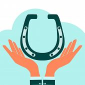 stock photo of flux  - Hands holding a horseshoe to pick up an object in flat style vector illustration - JPG