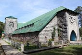 stock photo of luzon  - Grey stone church in village Sagada in Luzon island - JPG