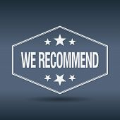 picture of recommendation  - we recommend hexagonal white vintage retro style label - JPG