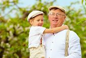 picture of grandpa  - cute grandpa with grandson on hands in spring garden - JPG