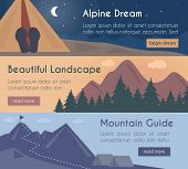 stock photo of mountain-climber  - Vector banners illustration set  - JPG