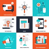 foto of internet icon  - Vector set of flat digital marketing icons - JPG