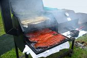 pic of ribs  - Delicious slab of BBQ Ribs ready to enter the cook - JPG