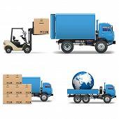 stock photo of forklift  - Blue trucks - JPG