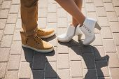 foto of kissing couple  - Young couple in love outdoor - JPG