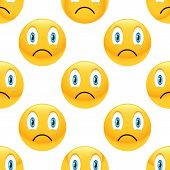 stock photo of emoticons  - Vector sad emoticon repeated on white background - JPG