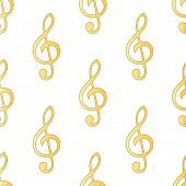 image of g clef  - Gold treble clef repeated on white background - JPG