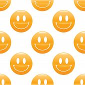 pic of emoticons  - Vector emoticon with wide smile repeated on white background - JPG