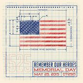 image of blueprints  -  Memorial Day United States flag design as a diagram - JPG