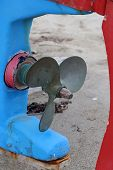 image of old boat  - Old boat engine propeller - JPG
