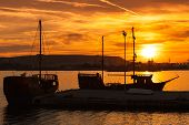 image of brigantine  - Recreation sailing ships stand moored in Varna port at the sunset. Black Sea coast Bulgaria ** Note: Soft Focus at 100%, best at smaller sizes - JPG