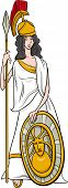 picture of goddess  - Cartoon Illustration of Mythological Greek Goddess Athena - JPG