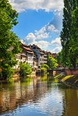 foto of timber  - Strasbourg water canal in Petite France area - JPG