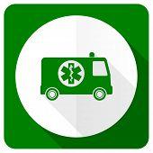 image of ambulance  - ambulance flat icon   - JPG