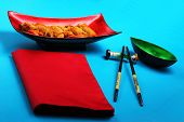 pic of deep  - traditional Vietnam deep fried shrimp and pork rolls in breadcrumbs served on a blue background - JPG