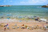image of polution  - Pollution on the beach of tropical sea - JPG