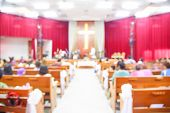 foto of church interior  - Blurred interior of empty church with empty pews - JPG