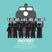 pic of striking  - Train Workers Strike And Protest Symbol Vector Illustration - JPG