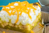pic of jello  - Hawaiian salad made with lemon jello pineapple banana mini marshmallows topped with whipped cream and cheddar cheese - JPG