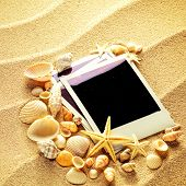picture of beach shell art  - Summer like old style empty photo cards lying on a sea sand and framed with shells - JPG