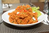 pic of catfish  - Crispy catfish spicy salad with sauce Thaifood. ** Note: Visible grain at 100%, best at smaller sizes - JPG