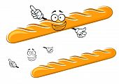 picture of baguette  - Happy cartoon golden baguette character with waving hands and a big smile with a second plain variant with separate elements - JPG