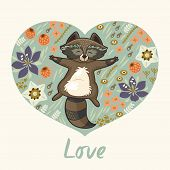 pic of raccoon  - Vector illustration with funny raccoon on the meadow - JPG