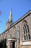stock photo of church-of-england  - St Alkmunds Church spire and windows Shrewsbury Shropshire England UK Western Europe - JPG