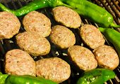 picture of meatball  - Fresh grilled meatballs and peppers closeup view - JPG