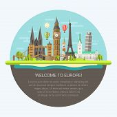 stock photo of world-famous  - Vector illustration of flat design composition with famous european world landmarks icons - JPG
