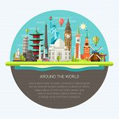 picture of world-famous  - Illustration  of vector flat design postcard with famous world landmarks icons - JPG
