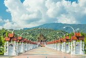 picture of royal botanic gardens  - Royal Park Rajapruek in Chiangmai thailand with blue sky - JPG